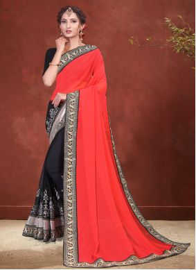 Faux Georgette Patch Border Black and Red Half N Half Designer Saree