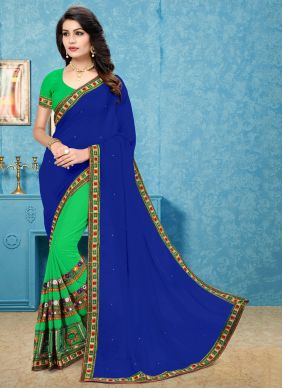 Faux Georgette Patch Border Blue and Green Half N Half Trendy Saree