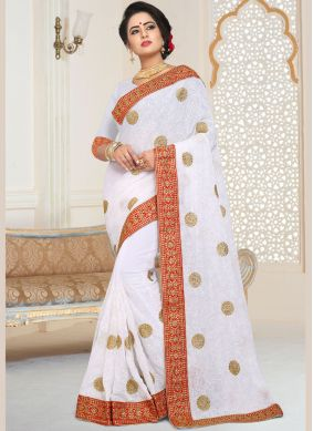 Faux Georgette Patch Border Classic Designer Saree in White