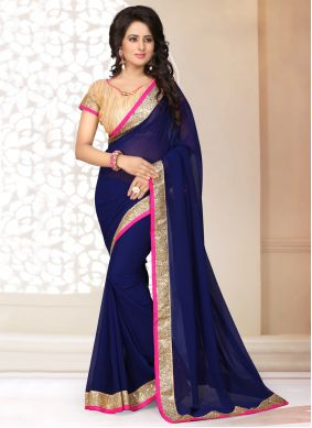 Faux Georgette Patch Border Classic Saree in Navy Blue