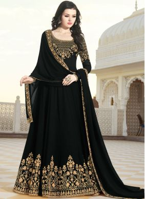 Faux Georgette Patch Border Floor Length Anarkali Suit in Black