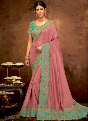 Faux Georgette Patch Border Pink Classic Designer Saree