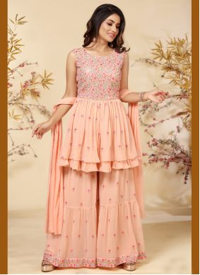 Faux Georgette Peach Readymade Suit