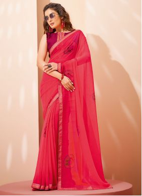 Faux Georgette Pink Abstract Print Saree