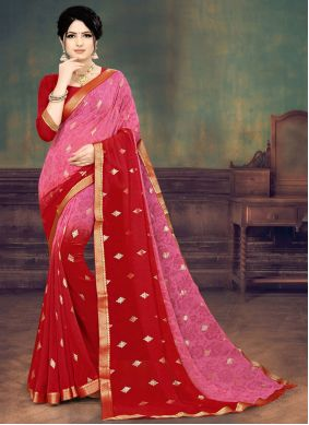 Faux Georgette Pink and Red Print Shaded Saree