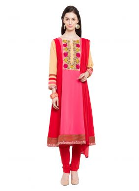 Faux Georgette Pink and Red Readymade Anarkali Salwar Suit