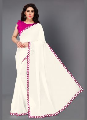 Faux Georgette Pink and White Mirror Classic Saree