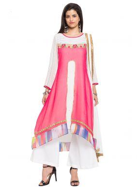 Faux Georgette Pink Embroidered Readymade Salwar Kameez