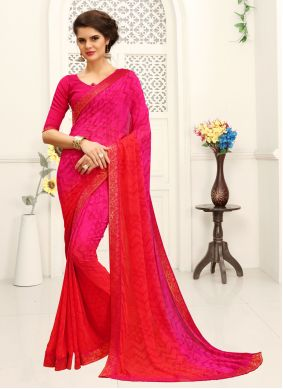 Faux Georgette Pink Printed Shaded Saree