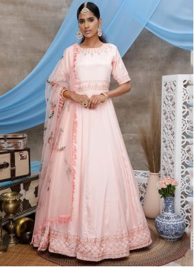Faux Georgette Pink Thread Floor Length Gown