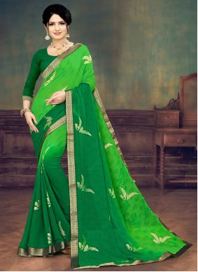 Faux Georgette Print Green Shaded Saree