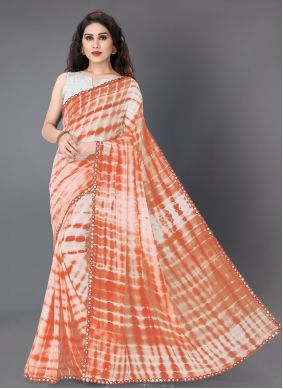 Faux Georgette Printed Off White and Orange Trendy Saree