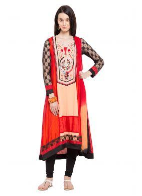 Red Faux Georgette Printed Readymade Salwar Kameez