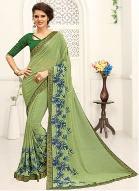 Faux Georgette Printed Saree in Green
