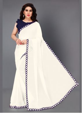 Faux Georgette Purple and White Designer Saree