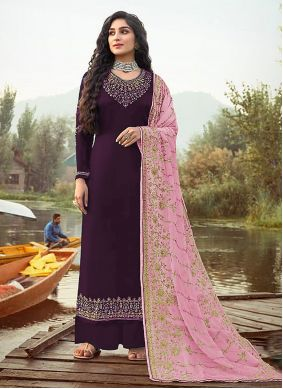 Faux Georgette Purple Embroidered Designer Palazzo Suit