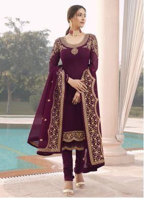 Faux Georgette Purple Embroidered Designer Straight Suit