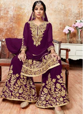 Faux Georgette Purple Resham Designer Pakistani Suit