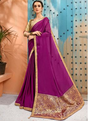 Faux Georgette Purple Woven Traditional Saree