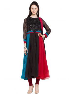 Multi Colour Faux Georgette Readymade Anarkali Salwar Suit