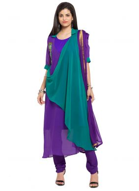 Faux Georgette Readymade Churidar Salwar Kameez in Purple