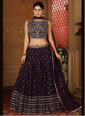 Faux Georgette Readymade Lehenga Choli in Purple