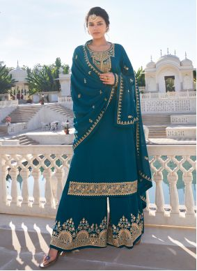Faux Georgette Readymade Suit in Rama