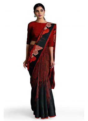 Faux Georgette Red Abstract Print Saree