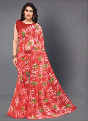 Faux Georgette Red Contemporary Style Saree