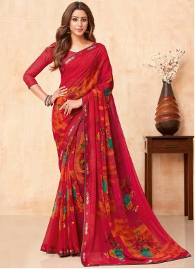 Faux Georgette Red Floral Print Casual Saree