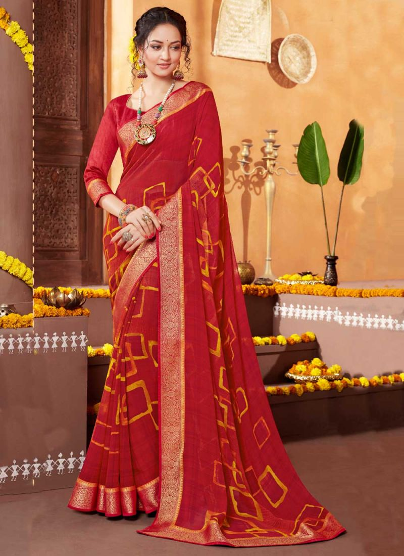 Faux Georgette Red Printed Saree