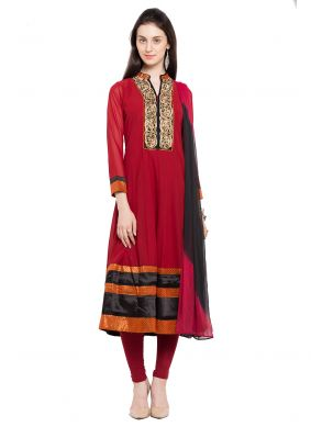 Faux Georgette Red Readymade Anarkali Salwar Suit