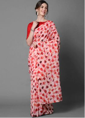 Faux Georgette Red Sequins Printed Saree