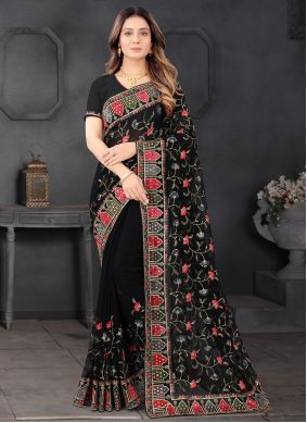 Faux Georgette Resham Designer Saree in Black