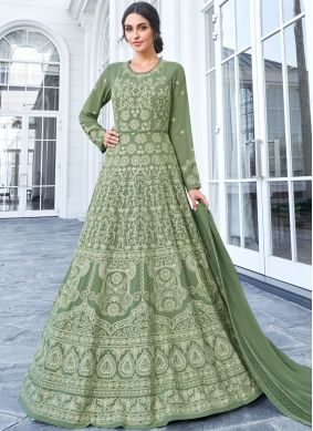 Faux Georgette Resham Floor Length Anarkali Salwar Suit in Green