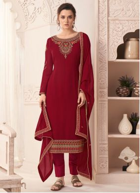 Faux Georgette Resham Pant Style Suit in Red