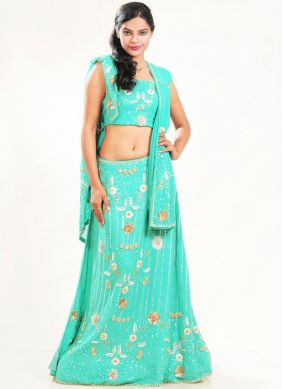Faux Georgette Sea Green Fancy Lehenga Choli