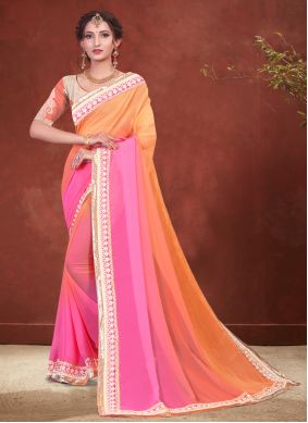 Faux Georgette Shaded Saree