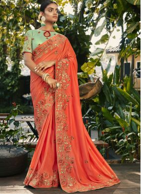 Faux Georgette Thread Work Traditional Saree in Peach