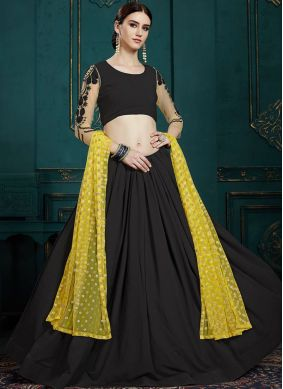 Faux Georgette Trendy Lehenga Choli in Black