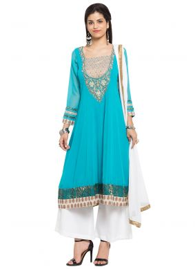 Faux Georgette Turquoise Readymade Salwar Kameez