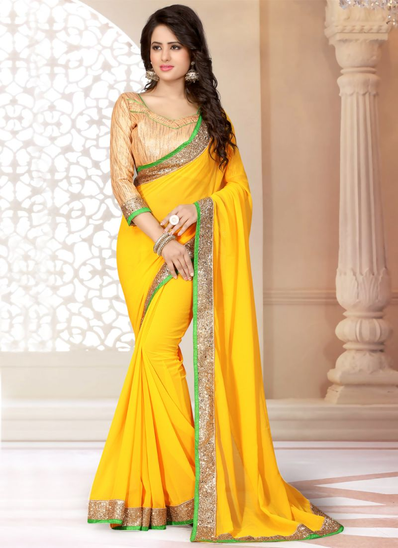 Faux Georgette Yellow Classic Saree
