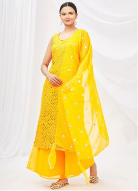 Faux Georgette Yellow Mirror Designer Palazzo Suit