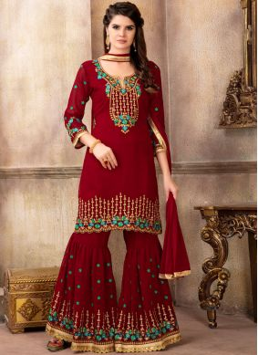 Faux Georgette Zari Designer Pakistani Suit in Red