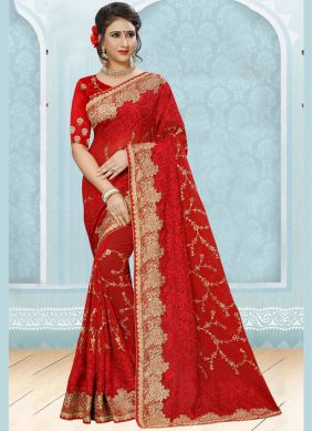 Faux Georgette Zari Red Designer Saree