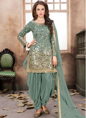 Festal Embroidered Tafeta Silk Sea Green Designer Patiala Suit