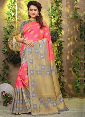 Festal Pink Weaving Fancy Fabric Designer Traditional Saree