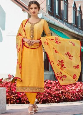 Fetching Embroidered Crepe Silk Yellow Churidar Designer Suit