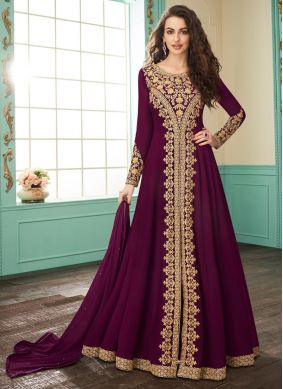 Fetching Embroidered Magenta Georgette Salwar Suit