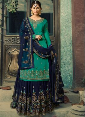 Fetching Faux Georgette Teal Palazzo Salwar Suit